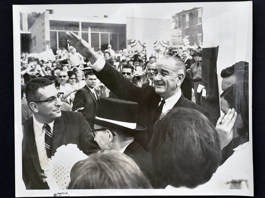 A photo of former president Lyndon B. Johnson attending Dallastown's 100th anniversary celebration.