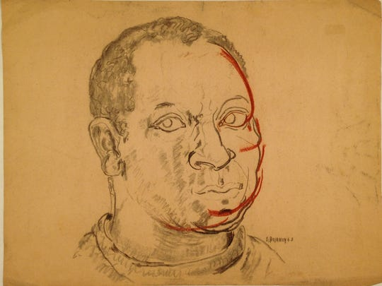 Beauford Delaney did this charcoal and pastel self