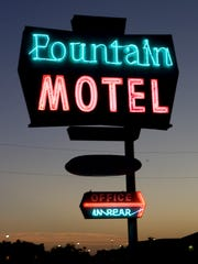 Neon sign of the Fountain Motel on Main St. in Mesa