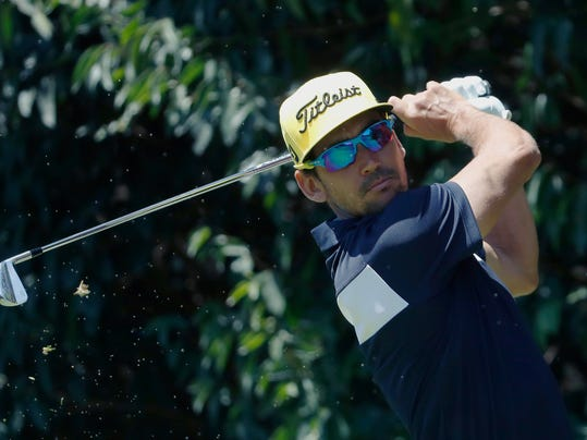 Rafa Cabrera-Bello, of Spain, tees off on the second hole during the final round of the Mexico Championship at Chapultepec Golf Club in Mexico City, Sunday, March 4, 2018. (AP Photo/Eduardo Verdugo)