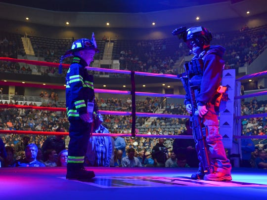 Opening ceremonies at the tenth annual Guns & Hoses 911 Gives Hope event.
