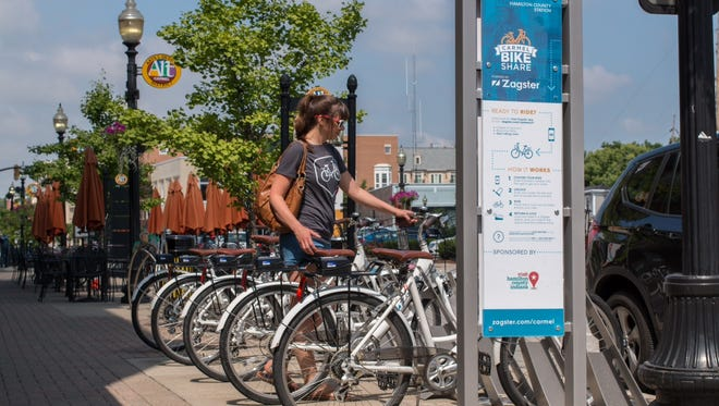 This bicycle-sharing station in Hamilton County, Indiana, is among those operated by Zagster in xx states.