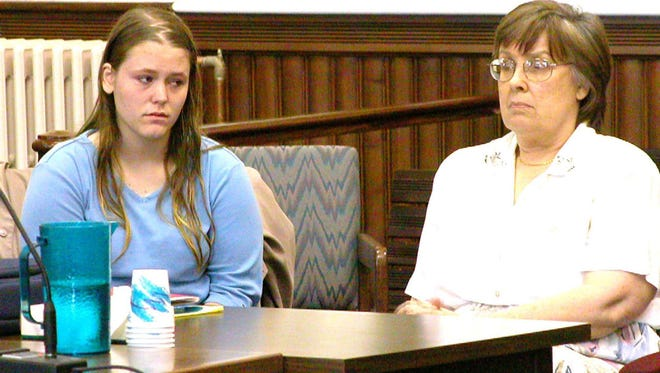Tashia Beer, left, sits in Caledonia County Superior Court in St. Johnsbury, Vt., Thursday, April 25, 2002, with her court-appointed guardian, Sandra Beck. Beer pleaded not guilty to the Feb. 16, 2000 murder of her step-mother, Vicki Campbell-Beer. Bond was set at $100,000.