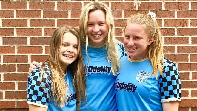 Mountain Home High School soccer players Kenzie Hatman, Sarah Swonger and Lauren Helmert are playing for teams in the Real Arkansas Soccer Club that are going to regional tournaments in North and South Carolina.