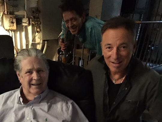 Brian Wilson and Bruce Springsteen with a Blondie Chaplin photo bomb (Brian Wilson)