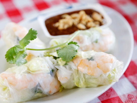 Shrimp spring rolls served with hoisin peanut sauce