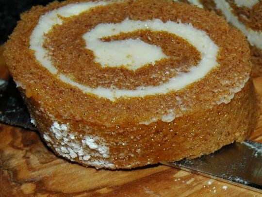 Don't forget the pumpkin roll with cream cheese icing.
