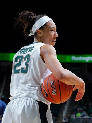 Aerial Powers is closing in on the career scoring record at MSU. She enters the postseason 70 points away from breaking the record set by Liz Shimek.