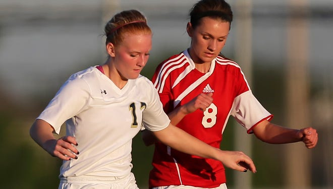 Appleton North's Erin Gietman (left) and Kimberly's Megan Geurts were all-FVA soccer selections this season.