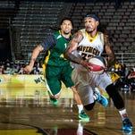 Shreveport-Bossier Mavericks' Anthony Jackson drives past Miami's Jerome Davis during the 2015 ABA Finals. The Mavericks are leaving Shreveport.
