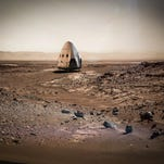 This concept art depicts a SpaceX Dragon spacecraft after landing on Mars.