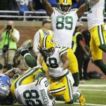 Richard Rodgers' hail may touchdown pass on the last play of the game beat the Lions, 27-23, in Detroit Dec. 3, 2015.