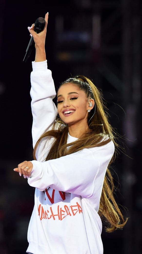 Ariana Grande performing at One Love Manchester benefit