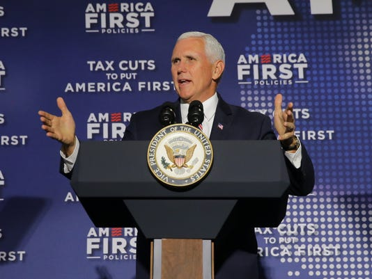 Vice President of the United States Mike Pence speaks at Tax Cuts to put America First town hall in Indianapolis.
