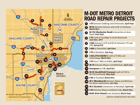 Several Metro area roads will be under construction starting this spring.