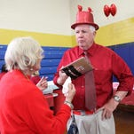 Roxbury seniors attend the annual Valentine's Day party at Lincoln Roosevelt School where students served the seniors lunch and treated them to a short concert, Thursday, February 11, 2016. Roxbury, NJ. For the Daily Record/Karen Fucito MOR 0211 roxbury senior valentines