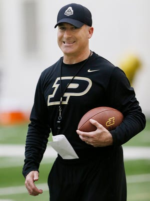 Co-offensive Coordinator/Special Teams Coordinator/Tight Ends coach Tony Levine during Purdue spring football practice Friday, March 3, 2017, in the Mollenkopf Athletic Center.