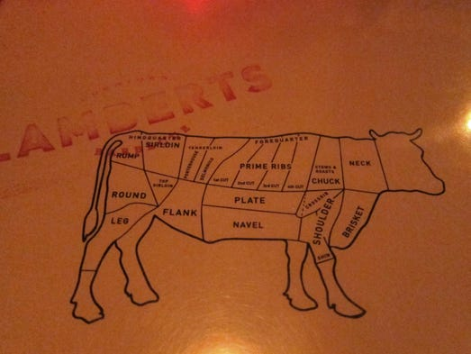 The menu at Lamberts immediately sets the theme: meat, smoked or grilled, with oak.