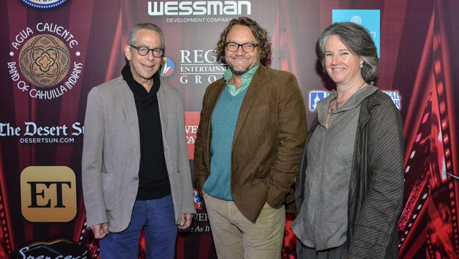 """PSIFF lead programmer and well-known film critic David Ansen, director Jeremy Sims of closing night film """"Last Cab to Darwin"""", and acting executive director Helen du Toit at the Annenberg Theater."""