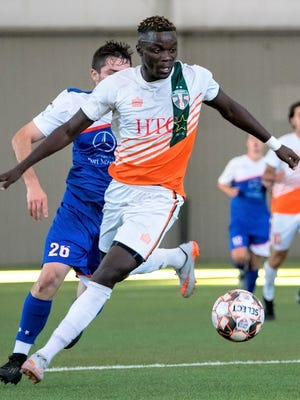 Former Madonna University standout Amadou Cisse had four goals and two assists in a 14-1 PDL win over the Derby City Rovers.