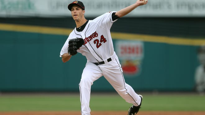 Rochester starting pitcher Taylor Rogers pitched five innings, giving up five runs against Toledo.