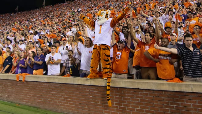 The Clemson Tiger Mascot joins fans before kickoff at Jordan-Hare Stadium in Auburn, Alabama.