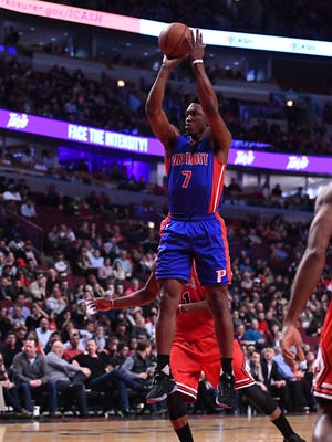 Mar 22, 2017; Chicago, IL, USA; Pistons forward Stanley Johnson shoots against the Bulls during the second half at the United Center.