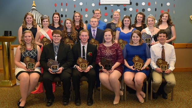 Local youths were among outstanding juniors in the Association that were awarded the Distinguished Junior Members honor. Pictured front row from left, Danielle Warmka of Dodge County, Matthew Kramer of Fond du Lac County, Logan Voigts, Kristen Broege, Nicole Pralle and Zachary Endres; back row, Brooke Trustem, Paige Nelson, Carley Krull, Hannah Nelson, Kalista Hodorff of Fond du Lac County, Austin Nauman, Mason Jauquet, Alli Walker, Rachel McCullough, Megan Nelson, Kelsey Cramer and Rachel Coyne.