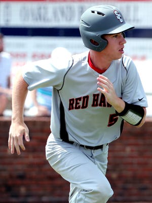Stewarts Creek's JBrandon Rooney (5) runs to first after a base hit against Seymour in the 2018 Class AAA state baseball tournament Wednesday at Oakland.