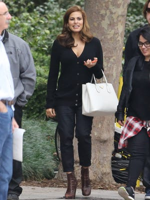 This is Eva Mendes filming a commercial in L.A. less than two months after giving birth. (FLIX GEVA)