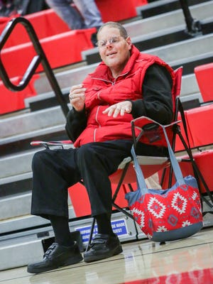 Palm Springs Indians super fan Nathan Bridges roots on the Indians' basketball team.