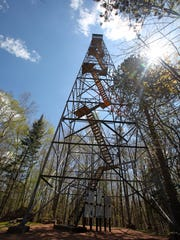 It's 130 steps to the top of the Mountain Fire Lookout Tower in the Chequamegon-Nicolet National Forest in Oconto County.