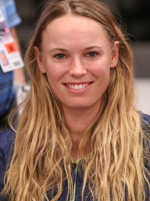 Caroline Wozniaki talks about her tennis career with the media at the BNP Paribas Open, March 7, 2018.