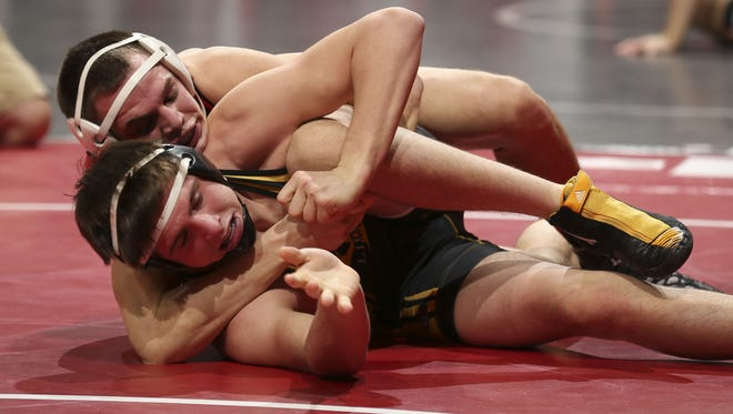 Tayler Pettit, top, is shown during the 2014 state tournament.