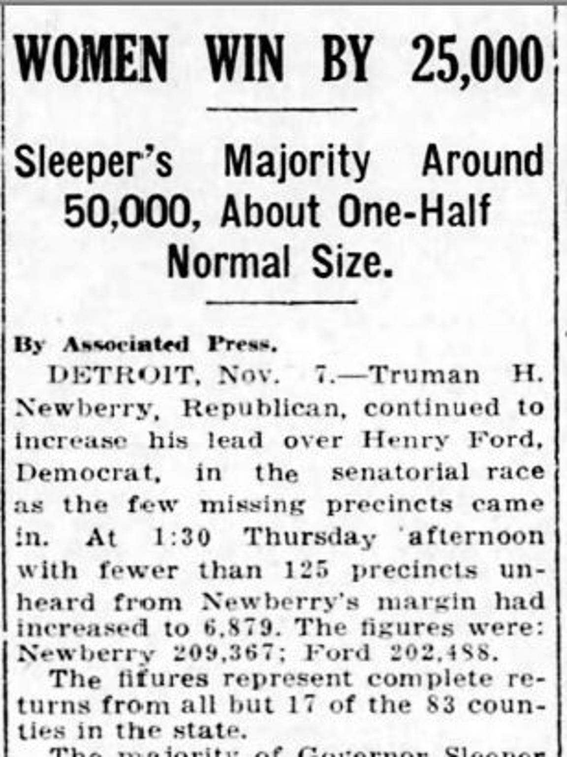 This clipping from the Nov. 7, 1918 Lansing State Journal