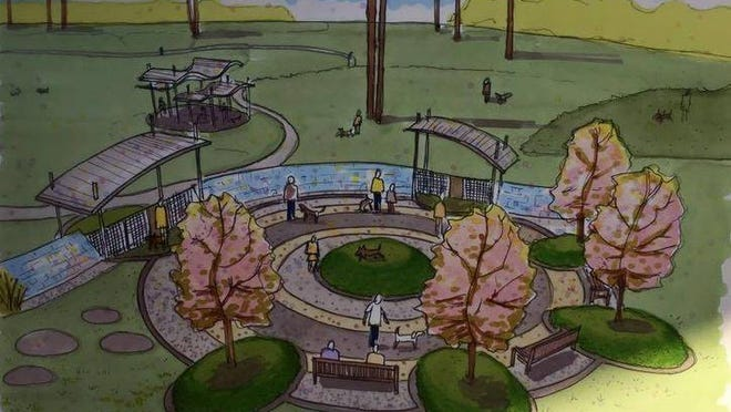 Here's a look at the entrance plaza for the proposed Shreveport dog park .