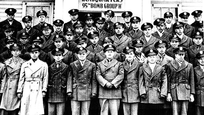 """Captain Robert """"Stu"""" Bender is pictured in the back row, third from the right, in this group photo of the 95th Bomb Group taken in 1943."""