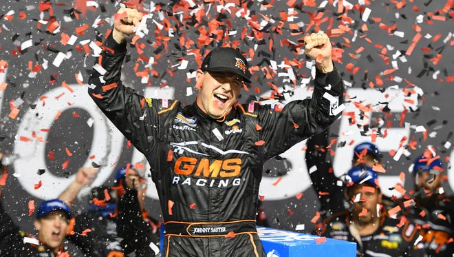 Johnny Sauter celebrates his victory at Chicagoland.