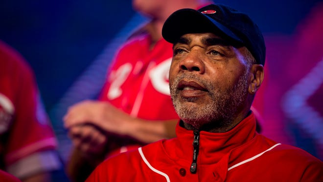 Former Cincinnati Reds player Dave Parker greets fans at Redsfest at the Duke Energy Convention Center in downtown Cincinnati Friday, December 1, 2017.