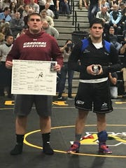 Pompton Lakes' Drew Flynn (left) and NV/Demarest's Bailey Paster after the Region 1 heavyweight final.