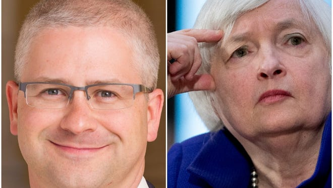 U.S. Rep. Patrick McHenry, left, and Federal Reserve Chairwoman Janet Yellen, right