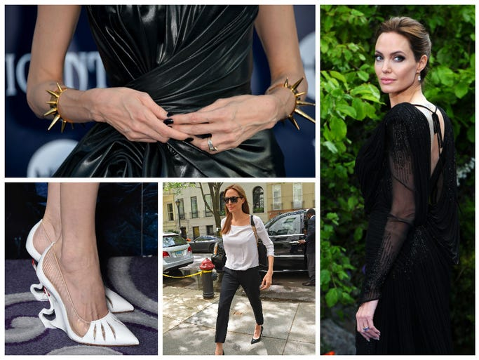 She's all blood-red lips and chiseled cheekbones in Disney's Maleficent, but off-screen Angelina Jolie took a more relaxed approach while promoting her latest flick. USA TODAY's Arienne Thompson flips through the actress' bewitching style diary.