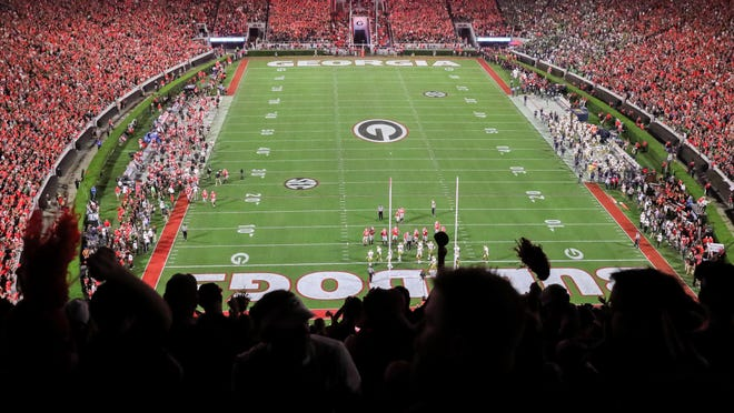 Sanford Stadium in the first half of a NCAA football game between Georgia and Notre Dame in Athens, Ga., on Saturday, Sept. 21, 2019.