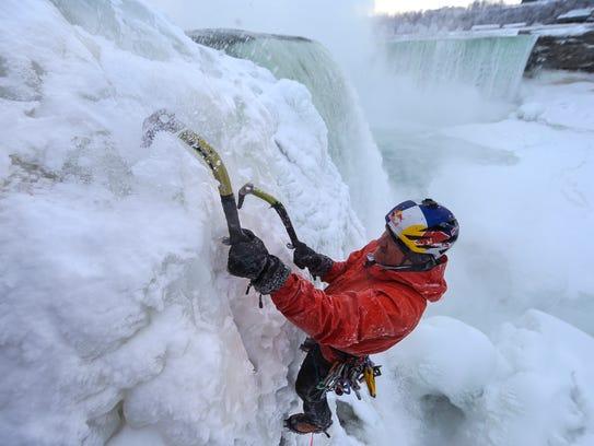 Will Gadd ice climbs the first ascent of the falls