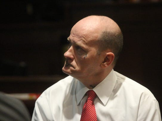 Watts at trial Tuesday. He is accused of beating his
