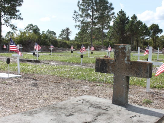 A recently restored veterans' section in Lake Trafford