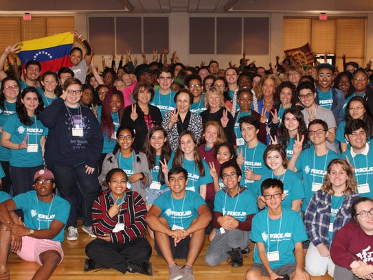Students gather as the PeaceJam Southeast conference