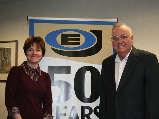 Mary Jo Johnson and her father, E.O., celebrate the