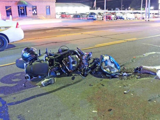 A motorcyclist was critically injured after being hit