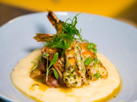 Wood Roasted Prawns and Polenta; smoked cheddar, andouille